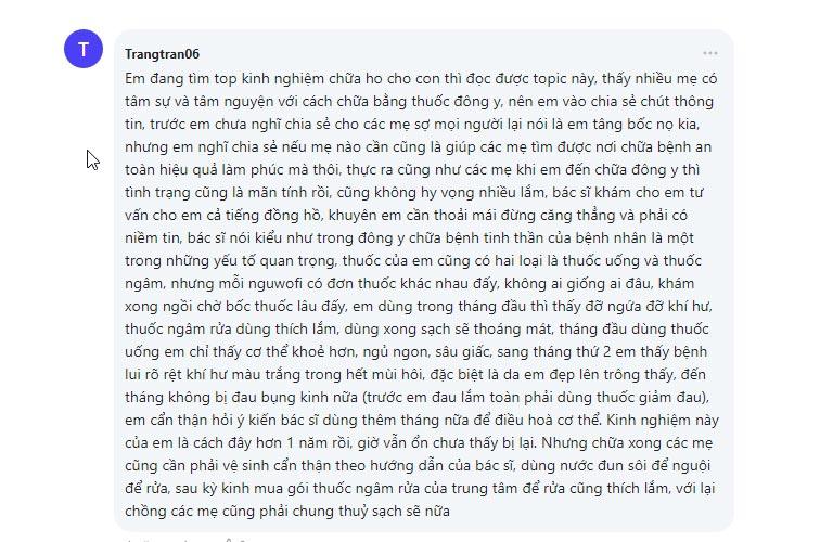 Bệnh nhân review về quá trình điều trị bằng Phụ Khang Tán trên webtretho